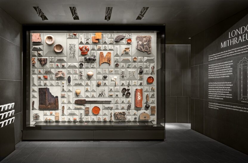 Display case at London Mithraeum Bloomberg SPACE